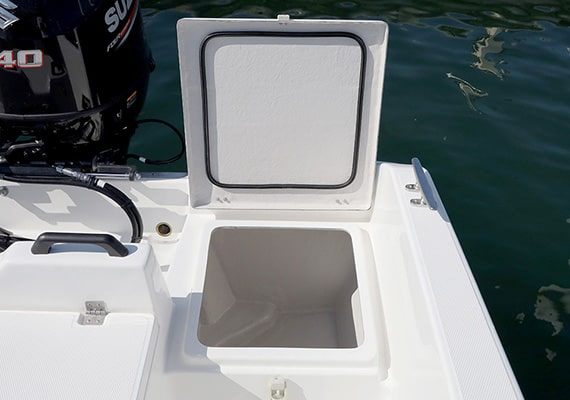 The rear deck locker can be used for live fish well as an option.