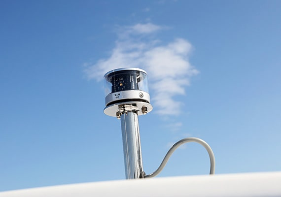 Navigation lights and masts can be installed as an option.