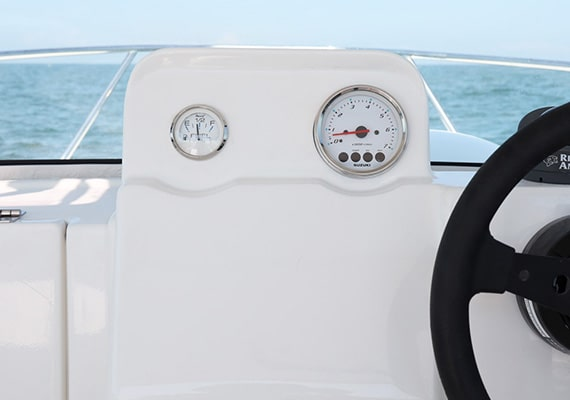 A wide instrument panel can embed navigation instruments.