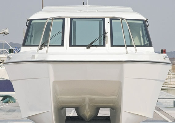 Front side view of Catamaran.