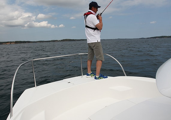Wide and stable Bow Deck is ideal for fishing base.